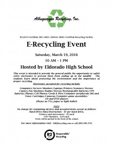 Flyer for Eldorado H.S. Event March 2016